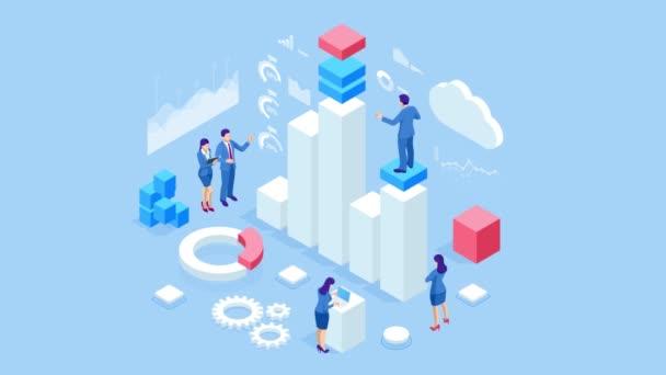 Izometrická analýza dat a statistika. Obchodní analýza, vizualizace dat. Koncepce technologií, internetu a sítě. Údaje a investice. HD video.