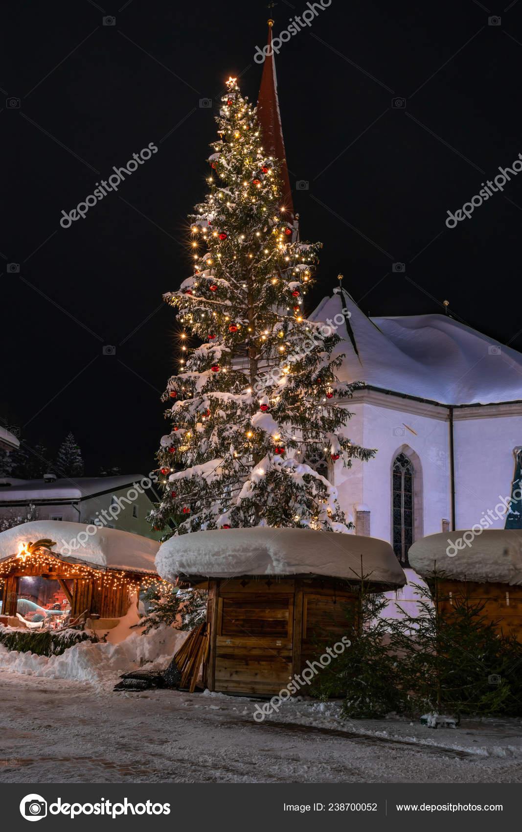 Christmas In Austria 2019.Seefeld Austria January 2019 Night View Oswald Parish Church