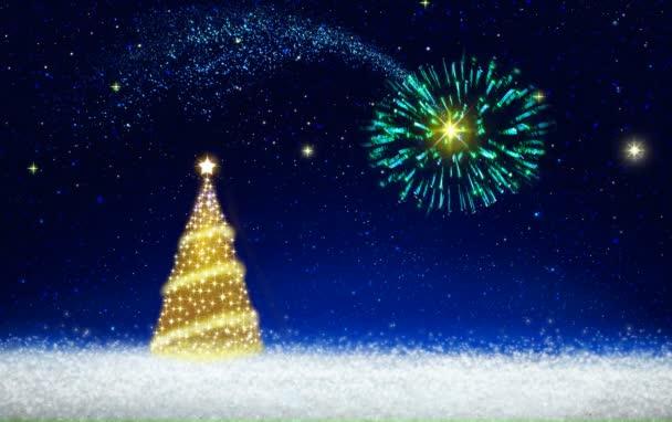 Zlatý vánoční strom a ohňostroj na hvězdné obloze. Vánoční pozadí.