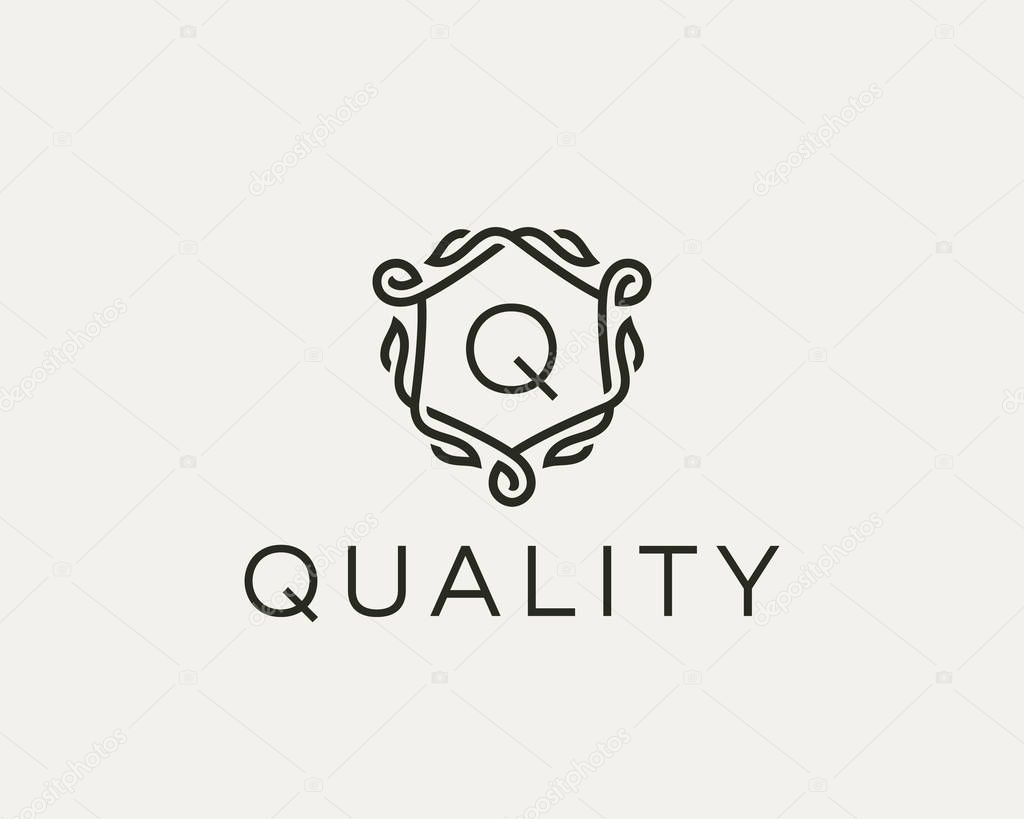 Premium linear shield monogram letter W logotype. Elegant crest leaf stamp icon vector logo. Luxury alphabet frame symbol.