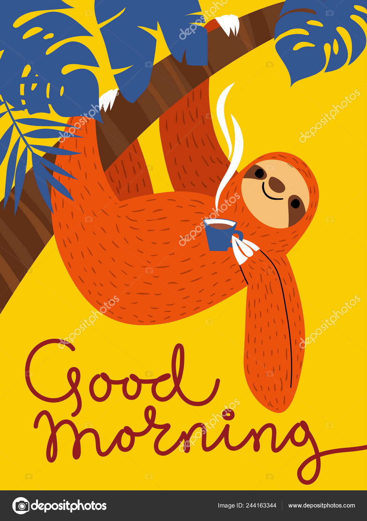 Lemur Cartoon Card Vector Illustration Good Morning Stock Vector