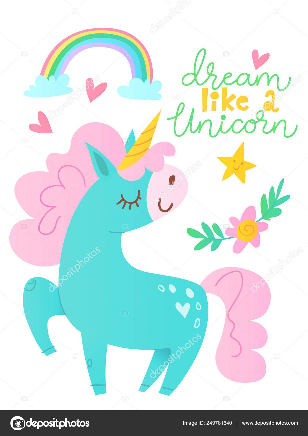 Tarjeta Vector Lindo Personaje Dibujos Animados Unicornio