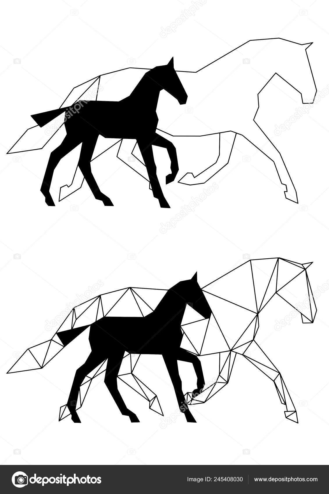 Set Two Original Horse Designs Ars Animalium Geometric Horses Called Stock Vector C Arsanimalium 245408030