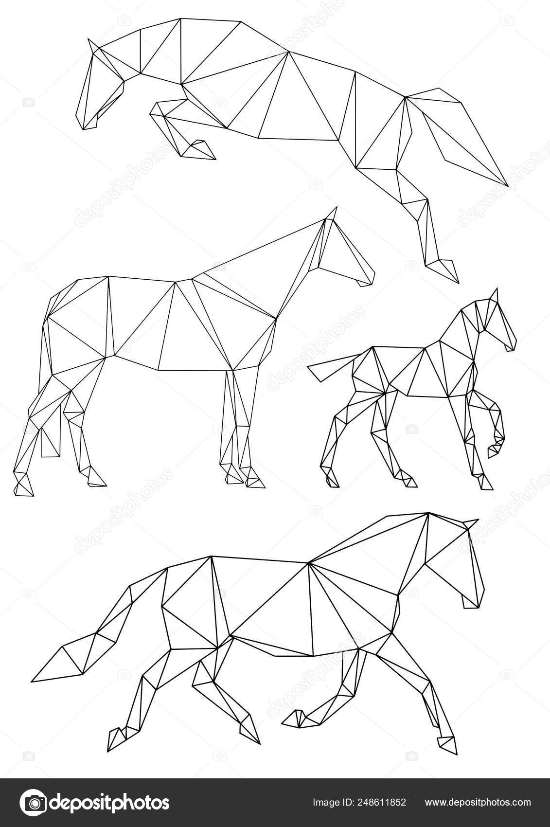 Set Four Equine Silhouettes Geometric Style Divided Triangles Showjumping Horse Stock Vector C Arsanimalium 248611852