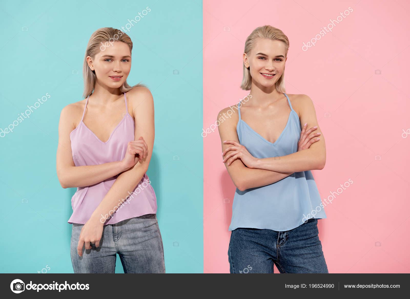 Mooie Kleding Dames.Blij Mooie Dames Die Permanent In Casual Kleding Stockfoto
