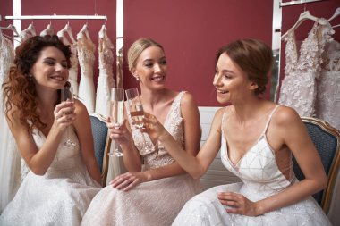 Happy young brides clanging glasses of champagne