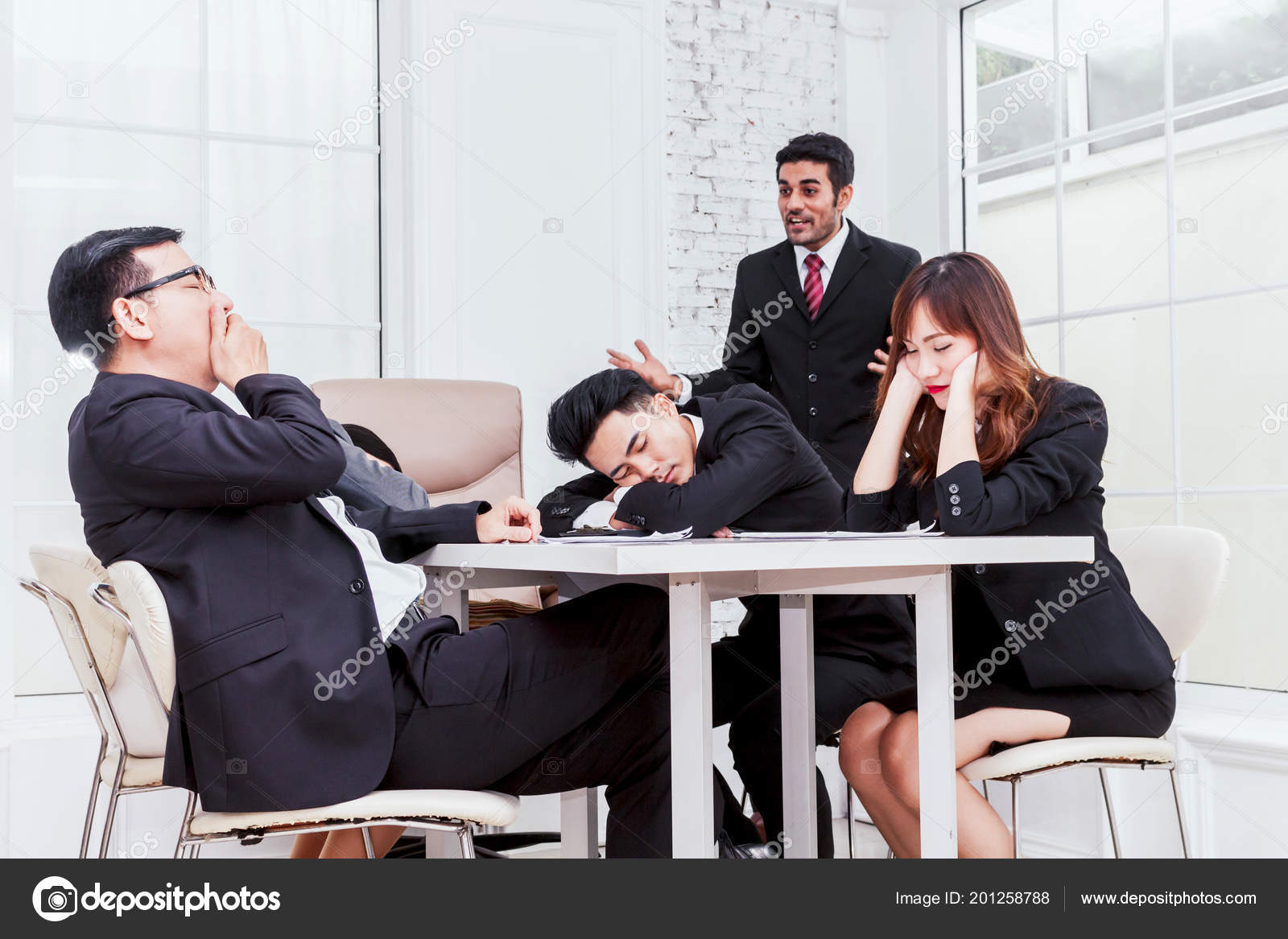 group business people sleeping meeting stock photo assumption111
