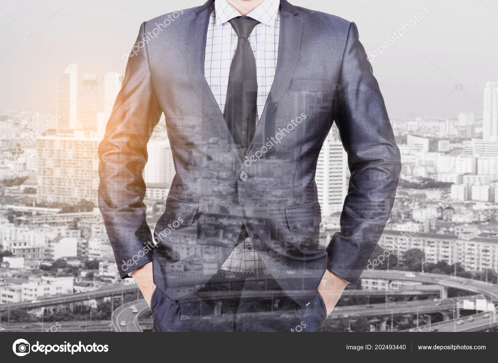 7017380fc179a Double Exposure Businessman Suit City Background — Stock Photo ...