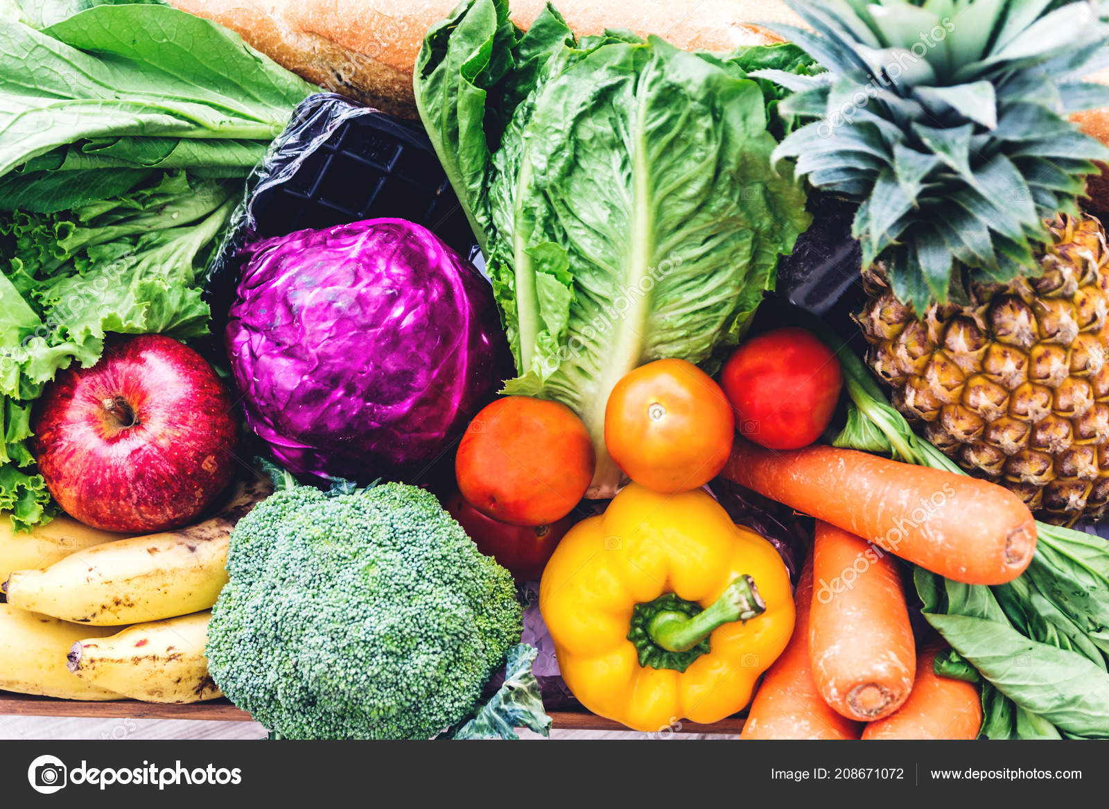 Different Fresh Fruits Vegetables Background Healthy ...