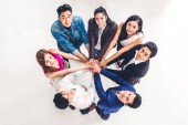 Fotografie Top view of successful of group business people stack and puttin