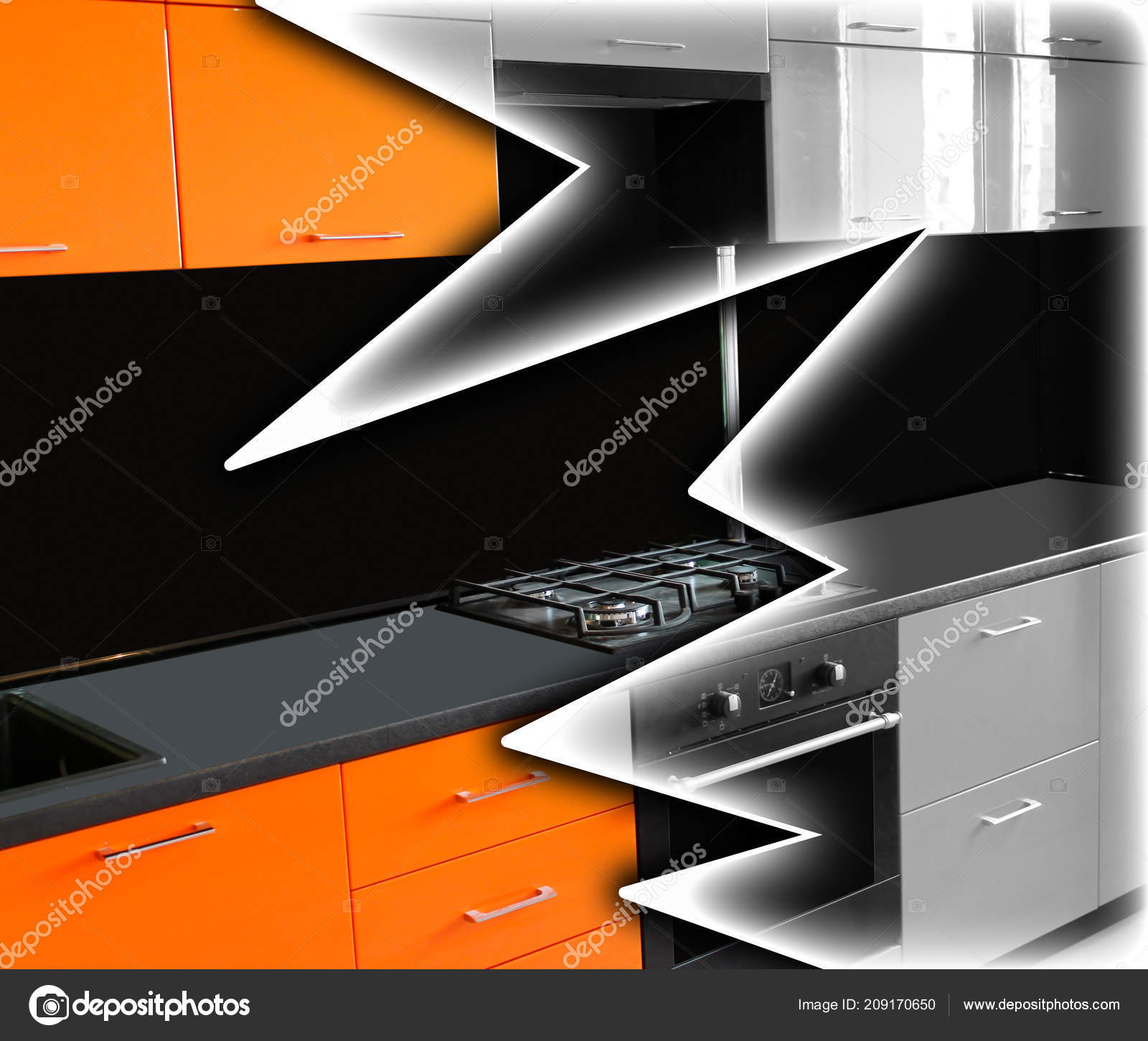 Restauration Meubles Cuisine Orange Vif Sous Une Couche Noir Blanche ...