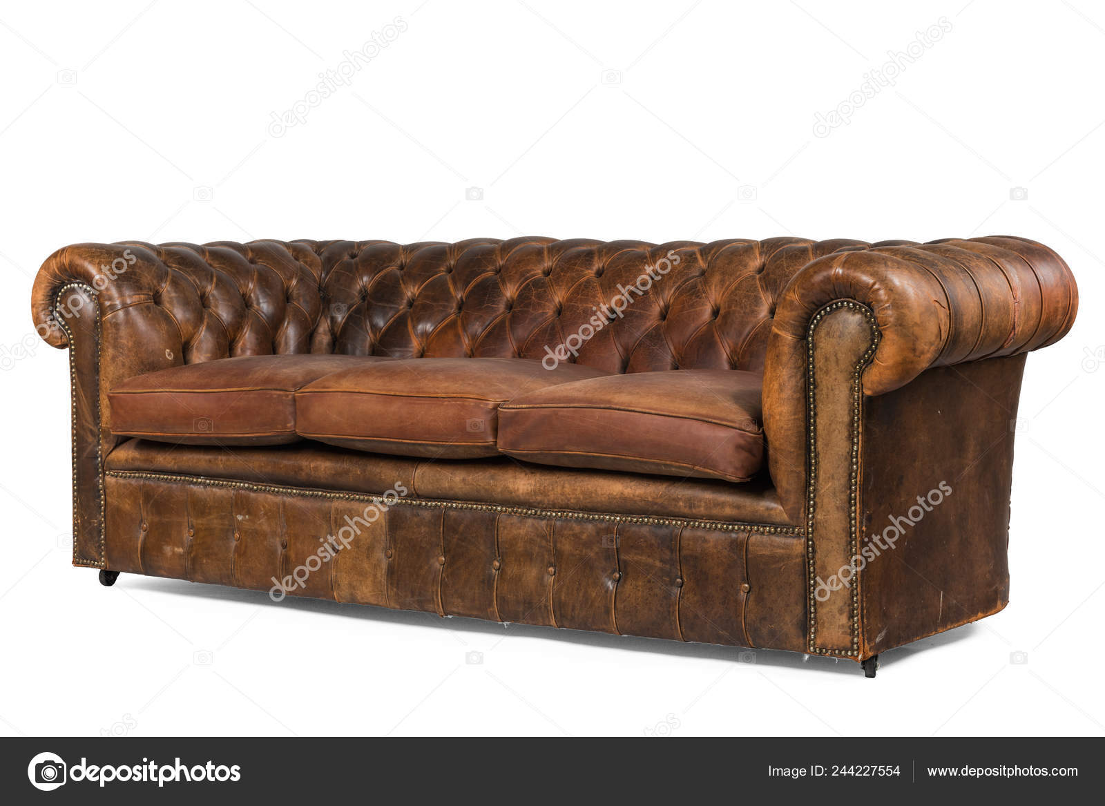 Leather Couch English Leather Chesterfield Buttoned Backed ...