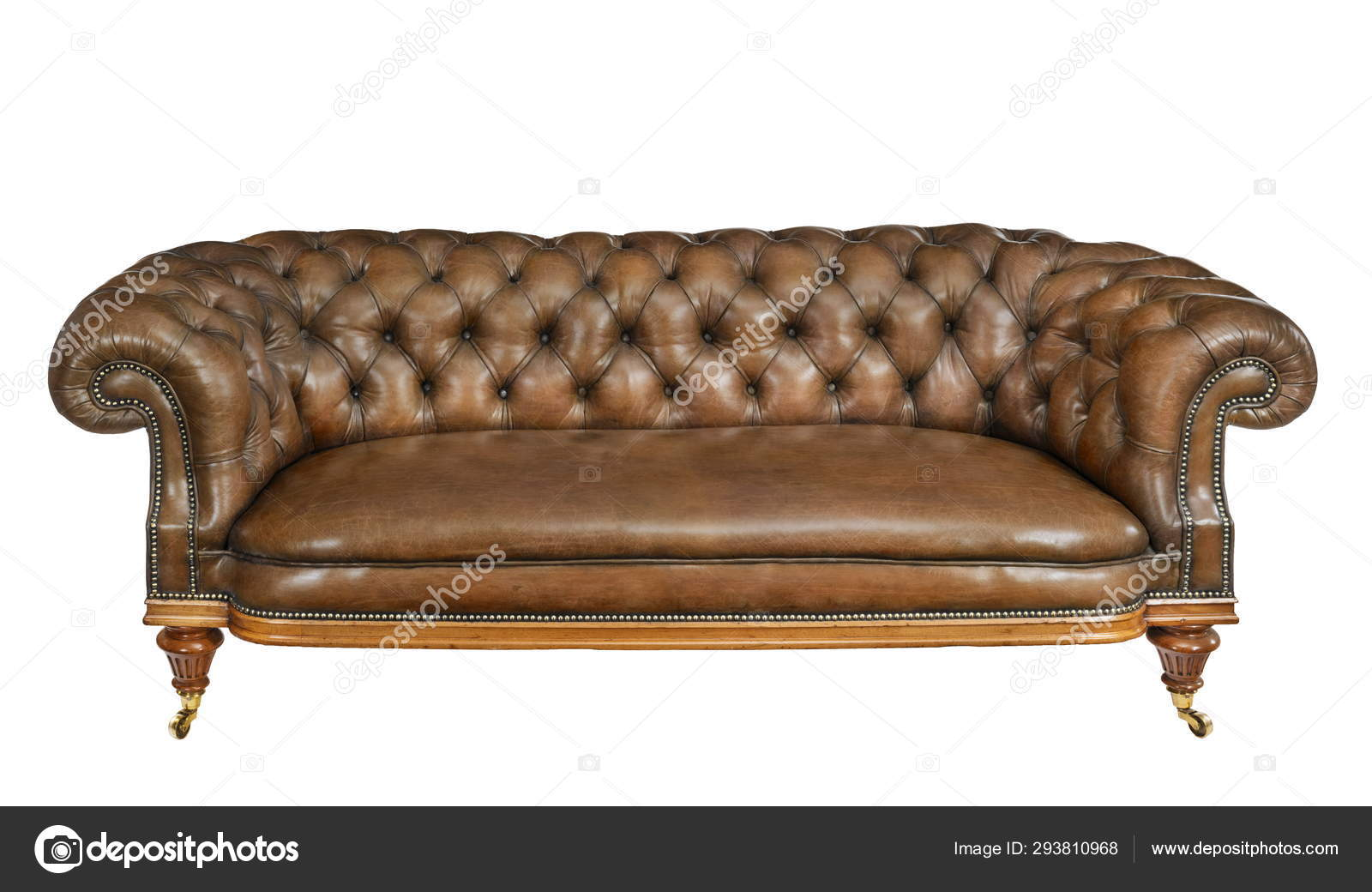 Sensational Classic Brown Leather Sofa Isolated On White Stock Photo Squirreltailoven Fun Painted Chair Ideas Images Squirreltailovenorg