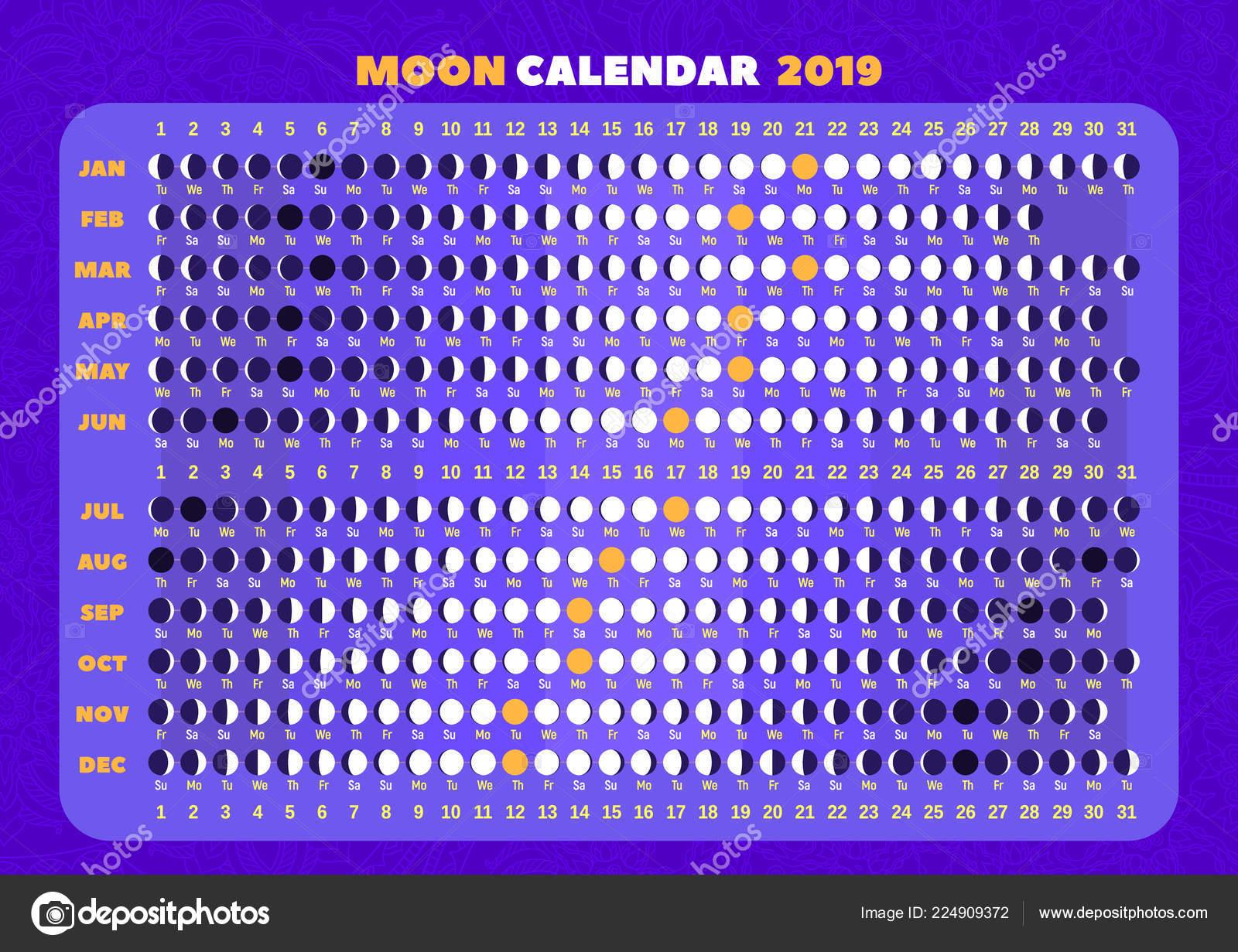 Calendario Con Fasi Lunari 2020.Calendario Con Le Fasi Lunari 2019