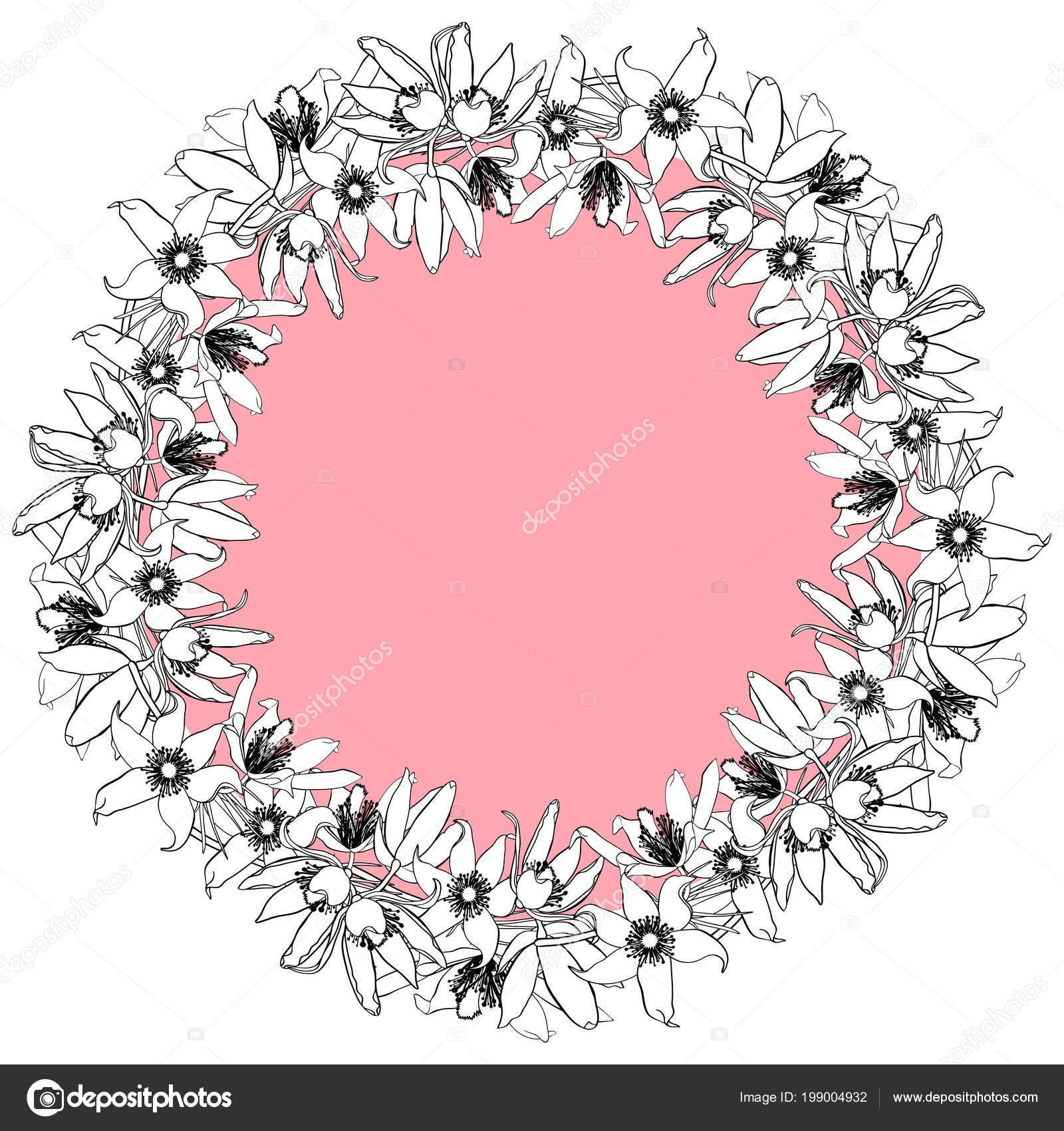 929a33f65 Mão Desenhada Vintage Floral Frame Redondo Fundo Redondo Rosa — Vetores de  Stock