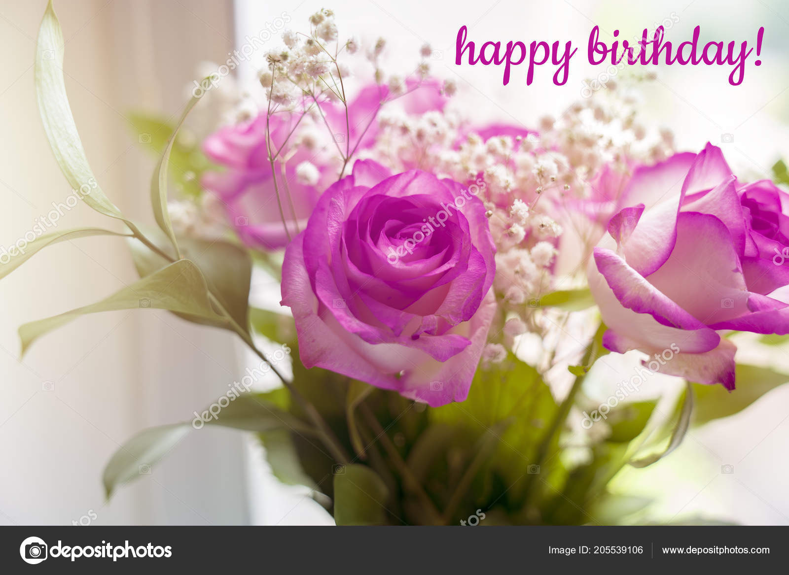Beautiful Bouquet Of Roses On A Window With Text Happy Birthday Stock Image