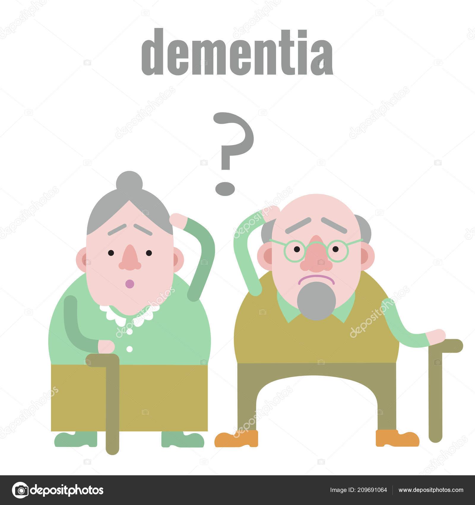 Confused Elderly Woman Cartoon