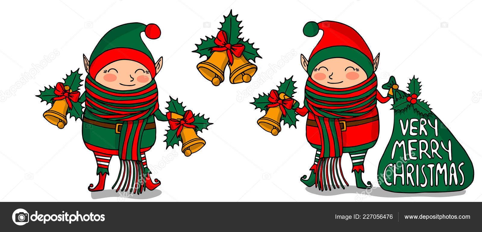 Elf Christmas Gift Bags.Cute Funny Cartoon Character Christmas Elf With Long Scarf