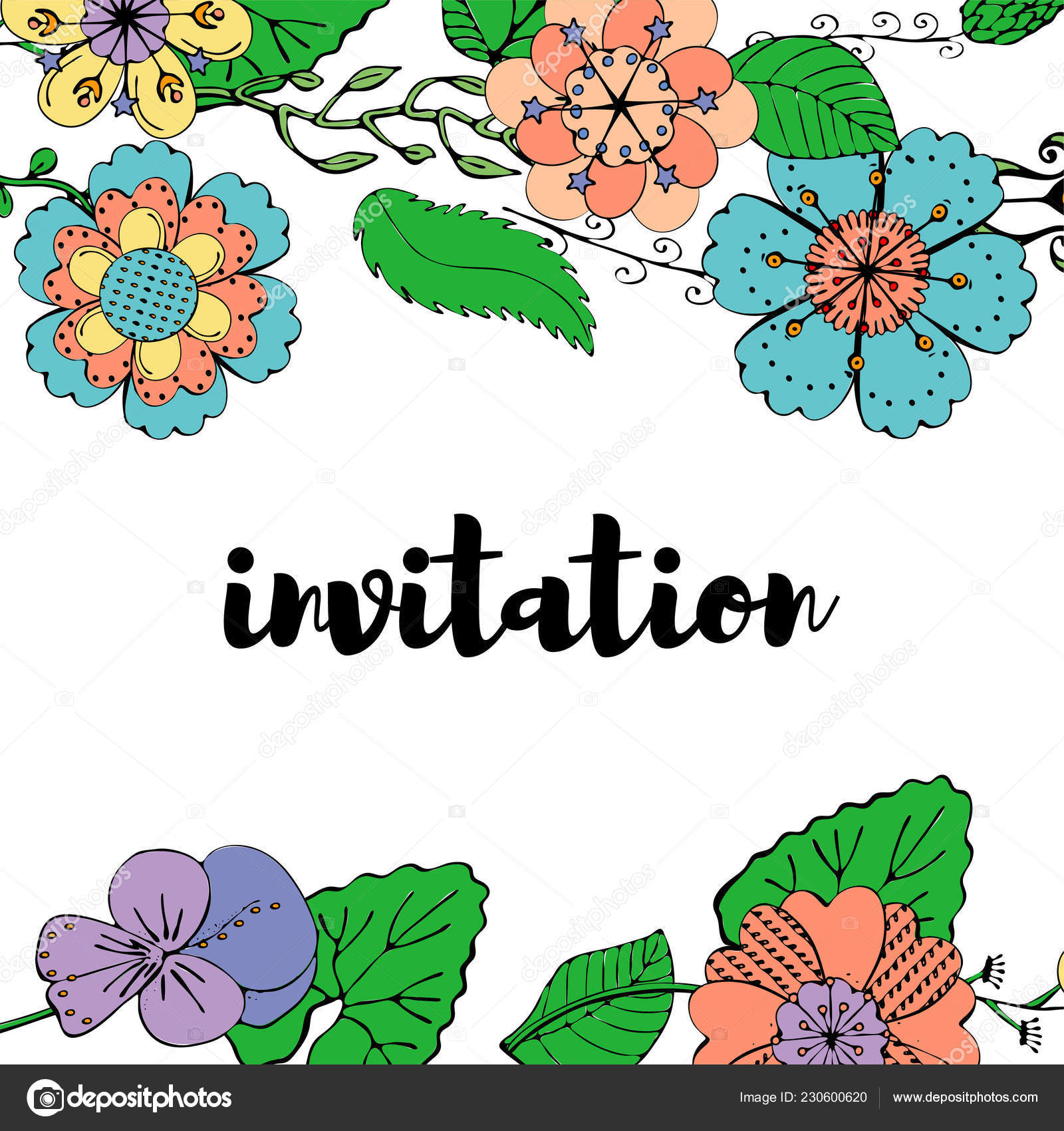 Colorful Invitation Card Floral Borders White Background