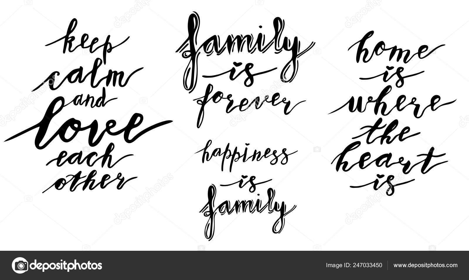 Mano Letras Frases Colección Felicidad Familia Familia Para