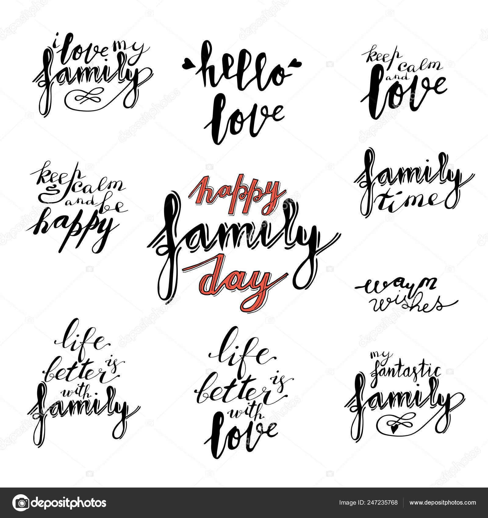 Deseos Mano Letras Frases Colección Familia Tiempo Caliente