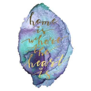 Hand lettering phrase home is where the heart is on colorful background.