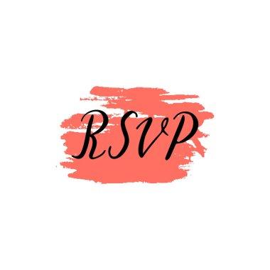 Custom hand  lettering word rsvp. Handwritten wedding, holiday g