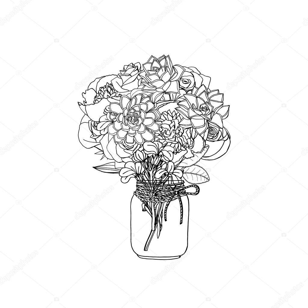 Hand Drawn Doodle Style Bouquets Of Different Flowers Succulent Peony Rose Stock Flower Isolated On White Background Stock Vector Illustration Premium Vector In Adobe Illustrator Ai Ai Format Encapsulated Postscript Eps