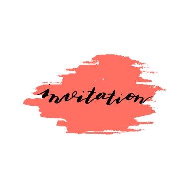 Custom hand  lettering word invitation. Handwritten holiday gree