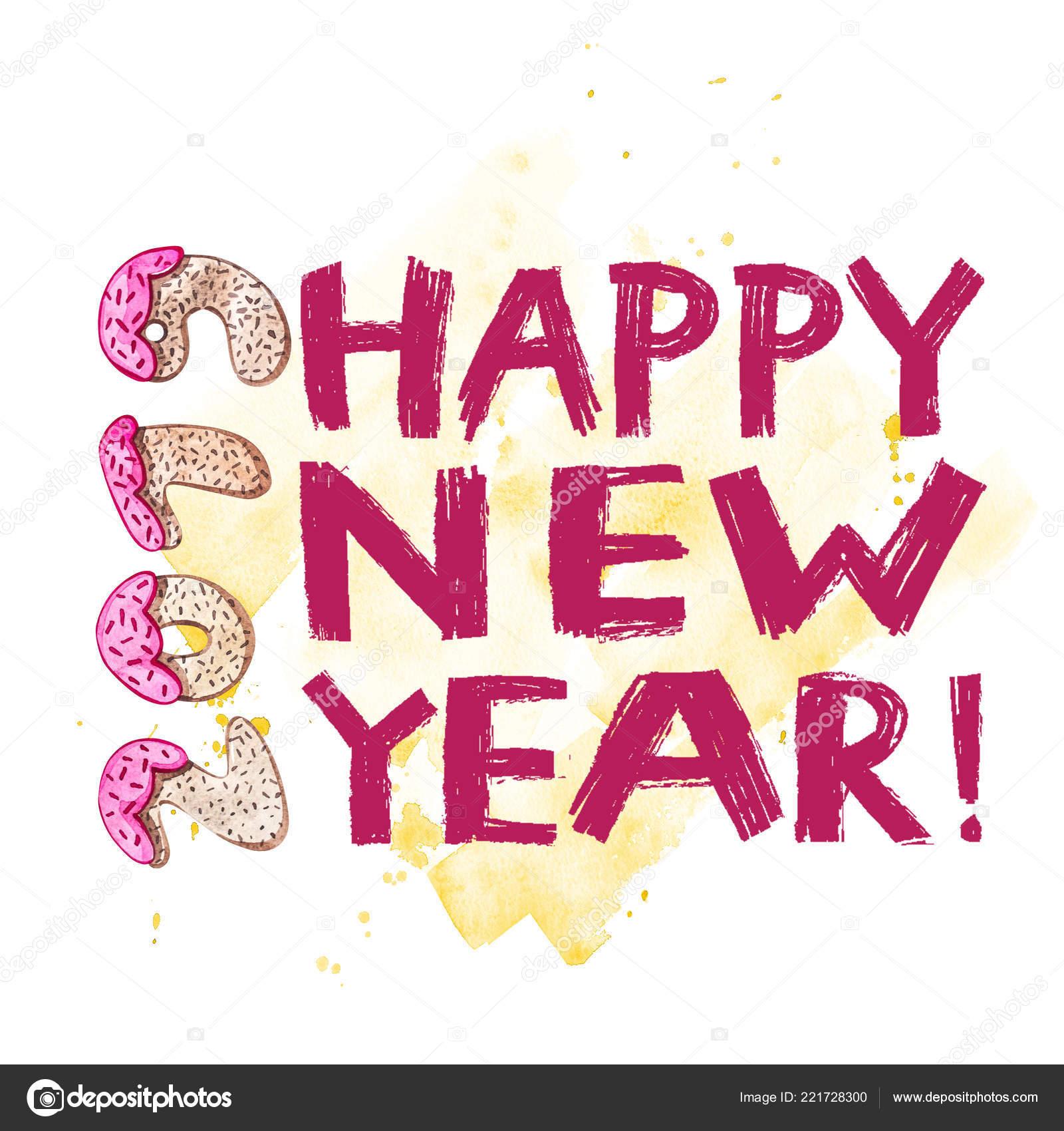 Phrase Creative 2019 New Year Lettering Sweet Cake Symbol