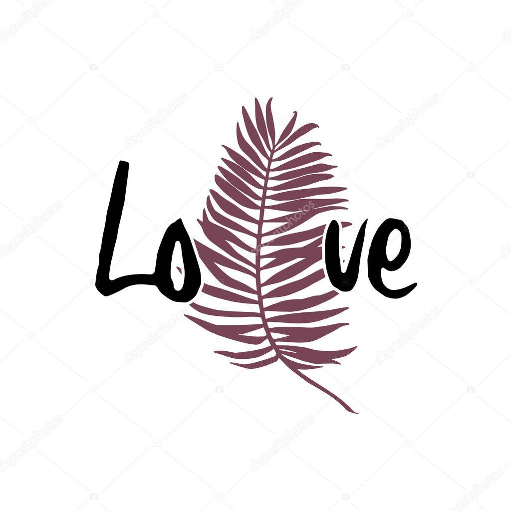 Slogan elegant design and stripes. Girl power shirt print vintage style. Hand drawn word - Love.