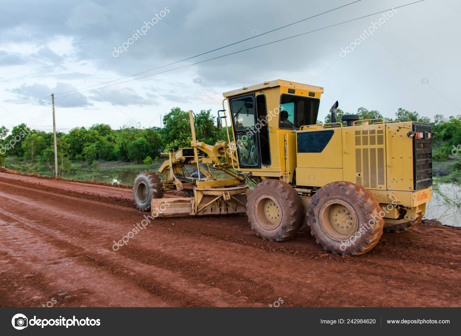 Yellow Motor Grader Road Working Road Construction Site New