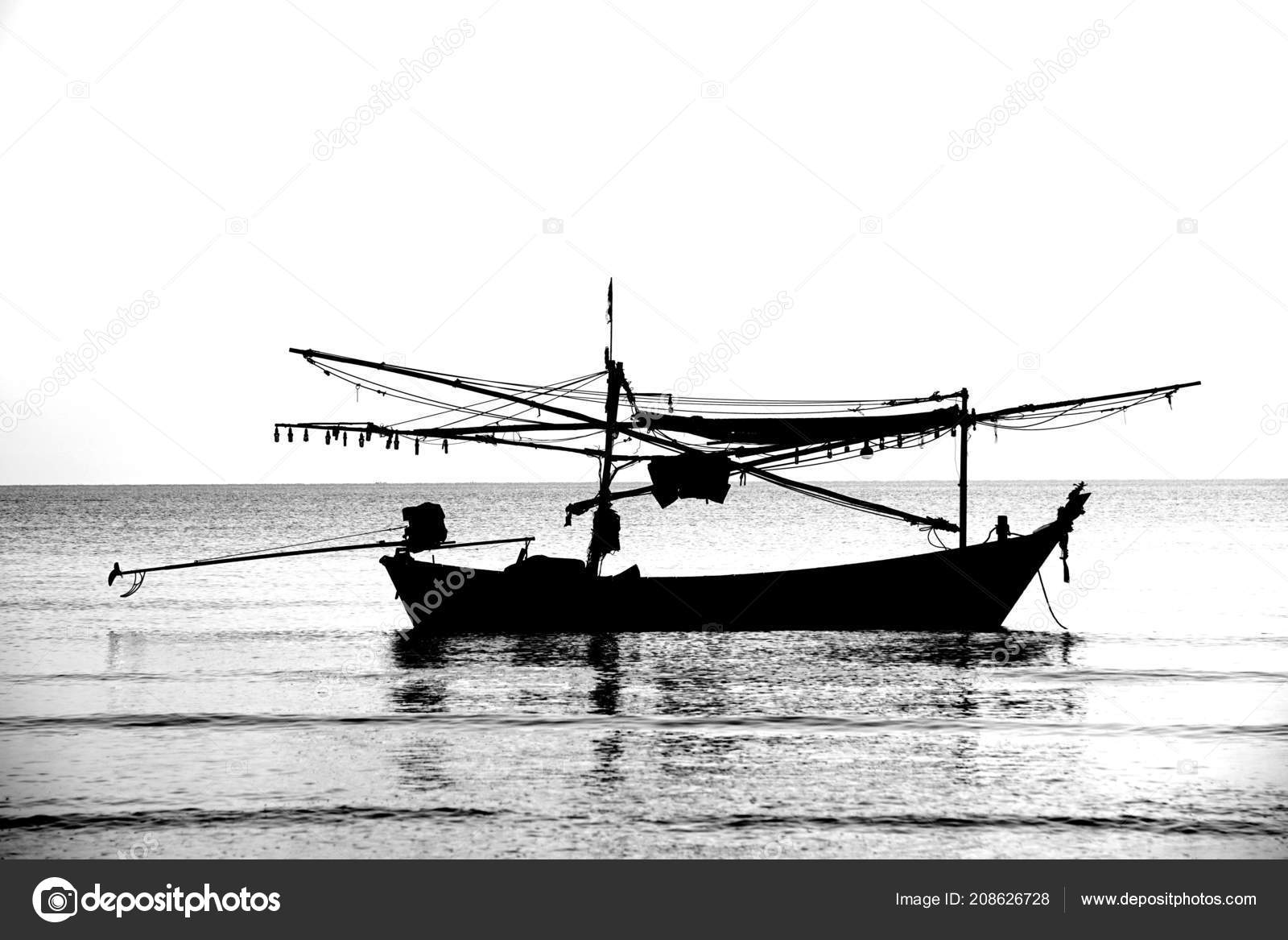 Silhouette Fishing Boat Stock Photo C Just One Pic 208626728