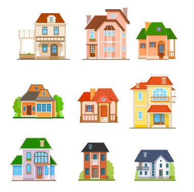 Flat houses front icon set, vector illustration. Different types of cottages, residential and guest houses