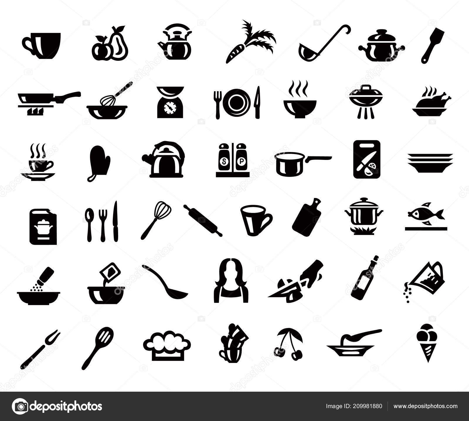 Cooking Kitchen Icon Set Minimalist Style Black Sign Gray
