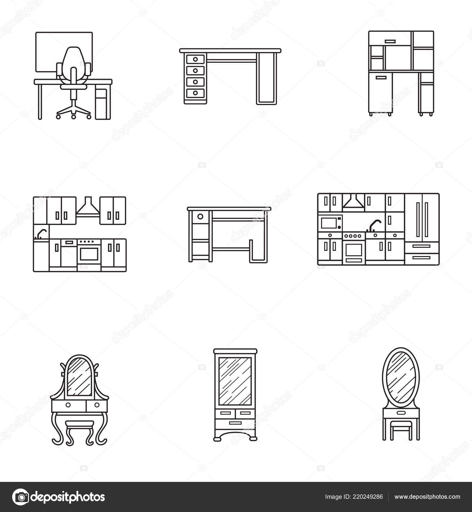 basic furniture thin line icon set minimalist style black line