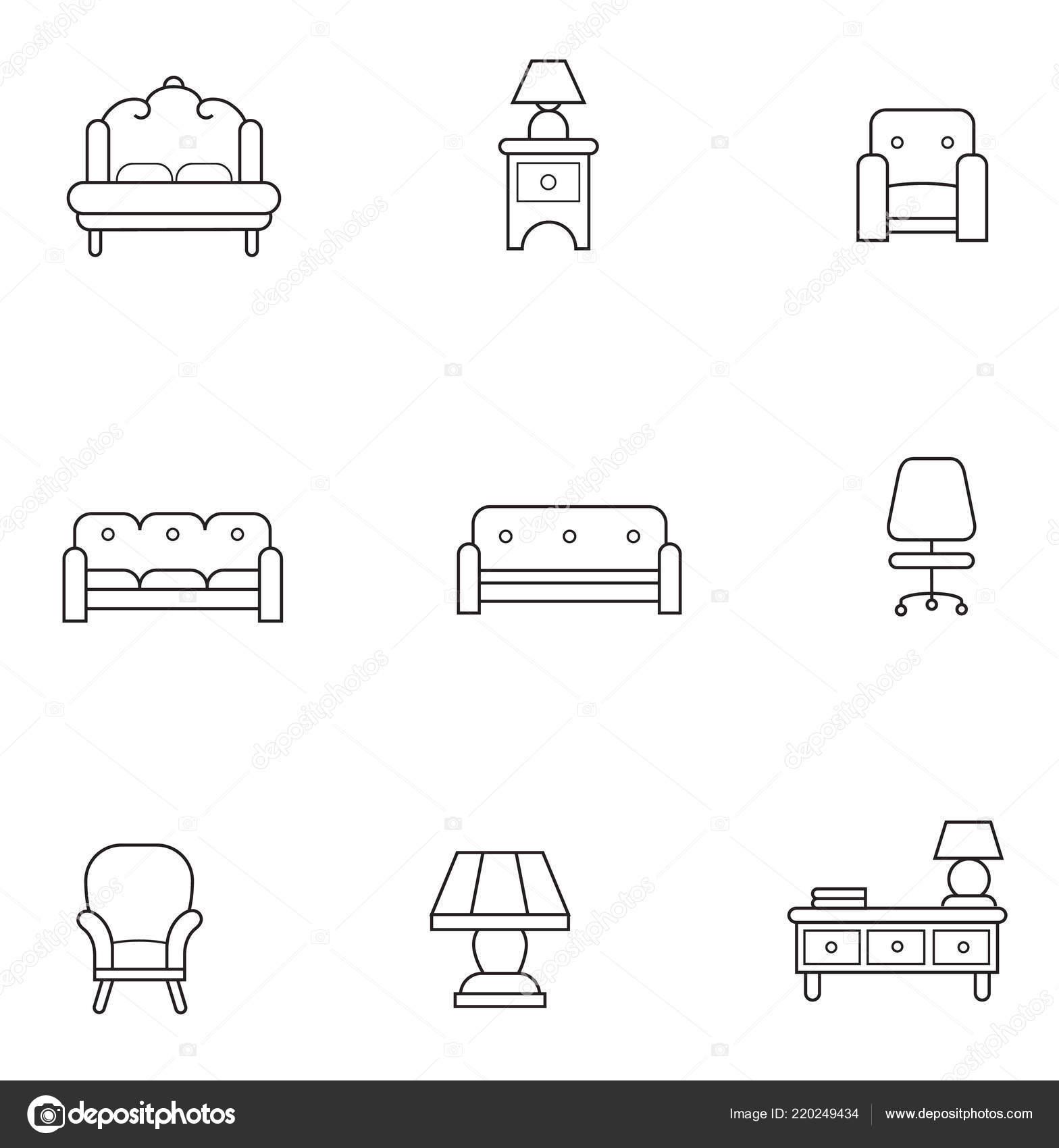 Basic Furniture Thin Line Icon Set Minimalist Style Black