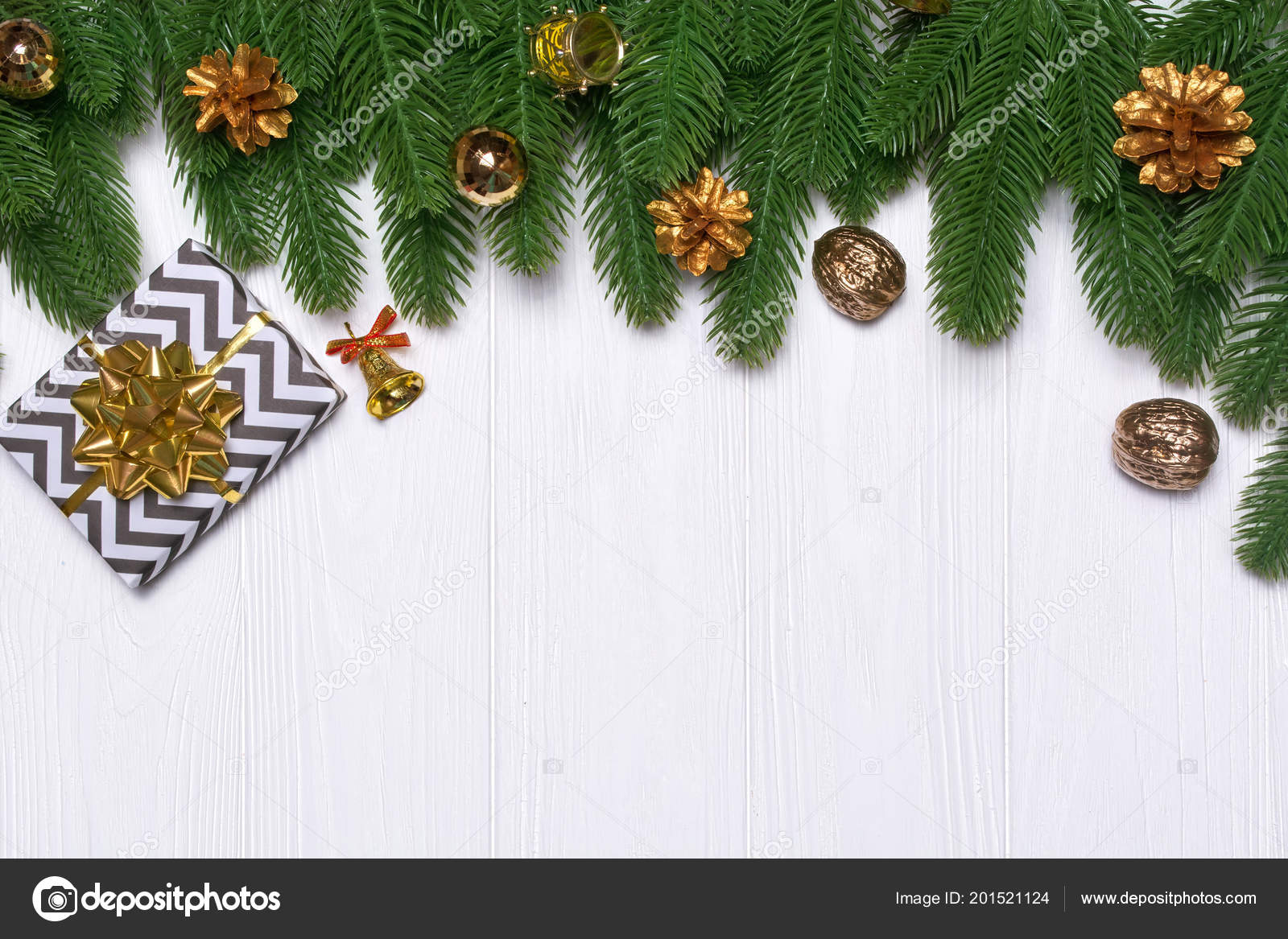 new years border on a white wooden background christmas decor stock photo