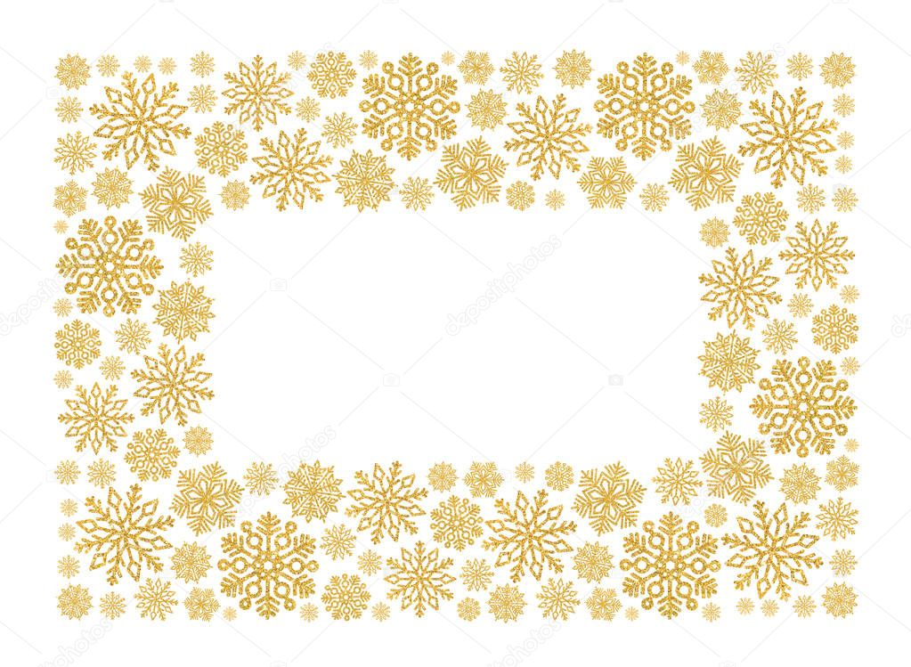 christmas frame with gold snowflakes border of sequin confetti glitter powder sparkling background