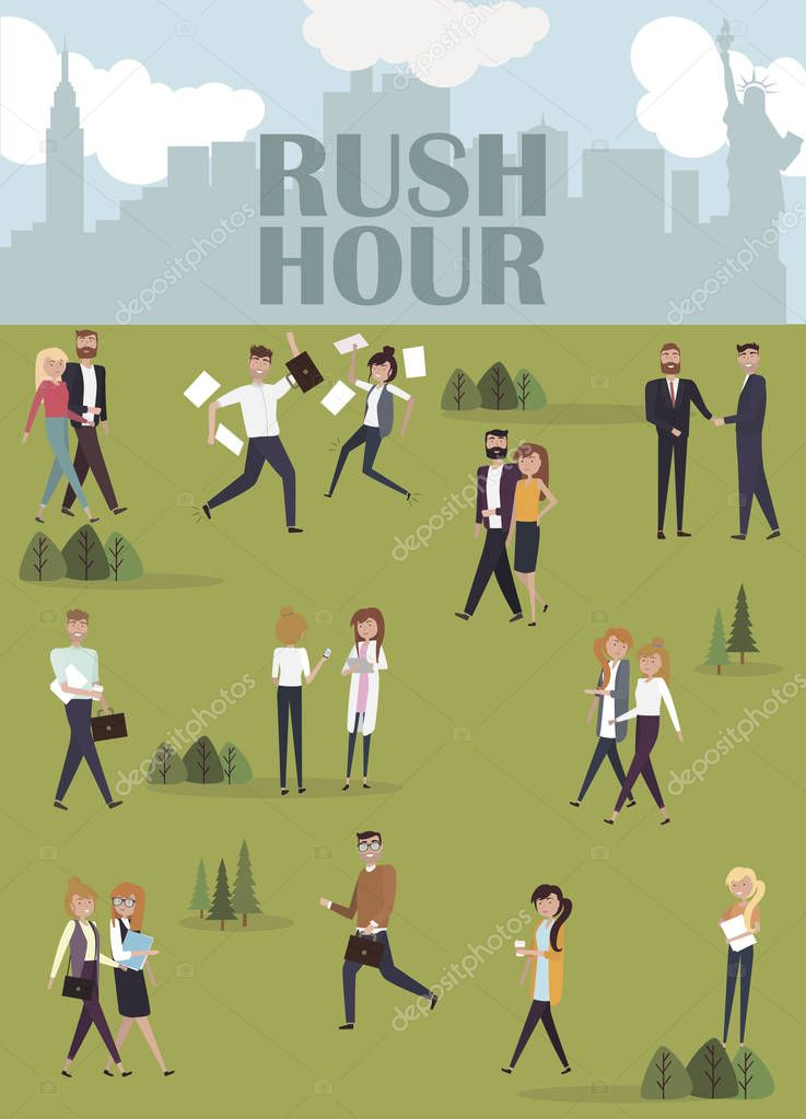 Rush hour in city park and Creative people go to work and interact with together. Editable vector illustration
