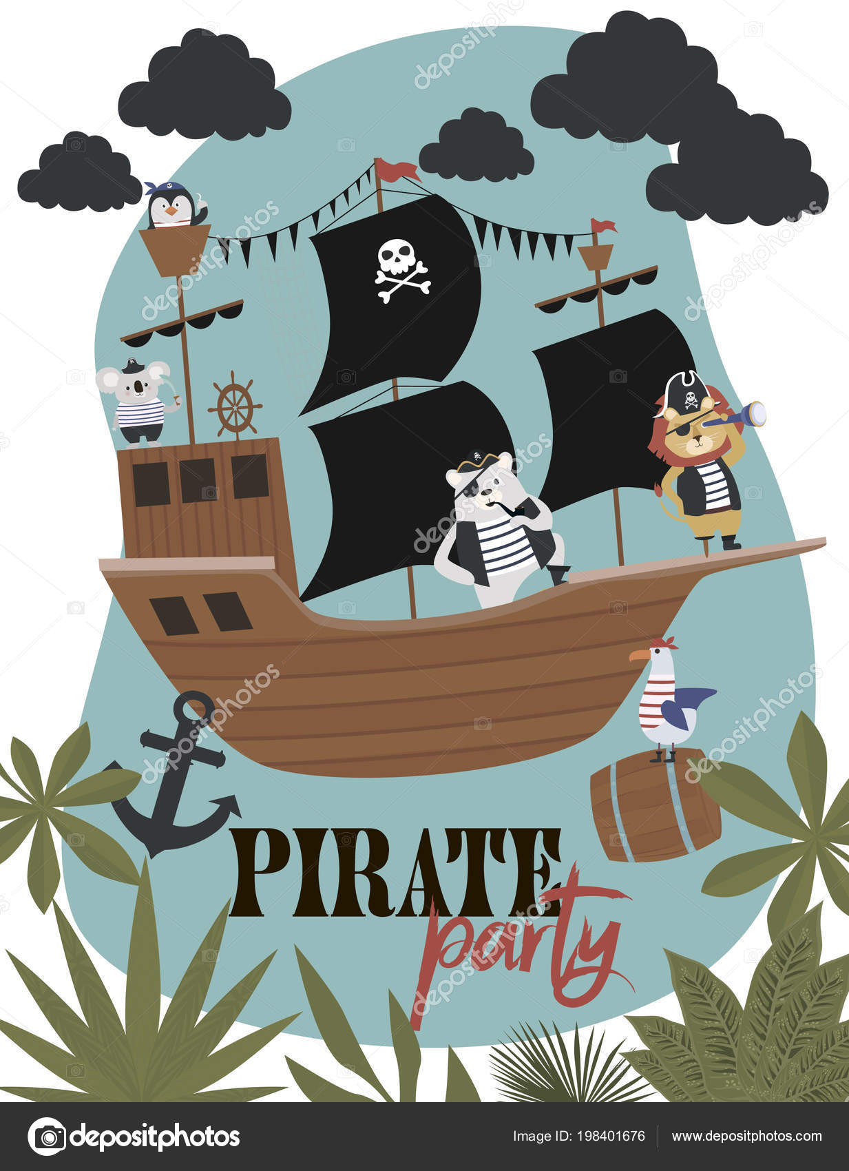 Pirate Birthday Invitation Card Cartoon Style Editable Vector Illustration Stock