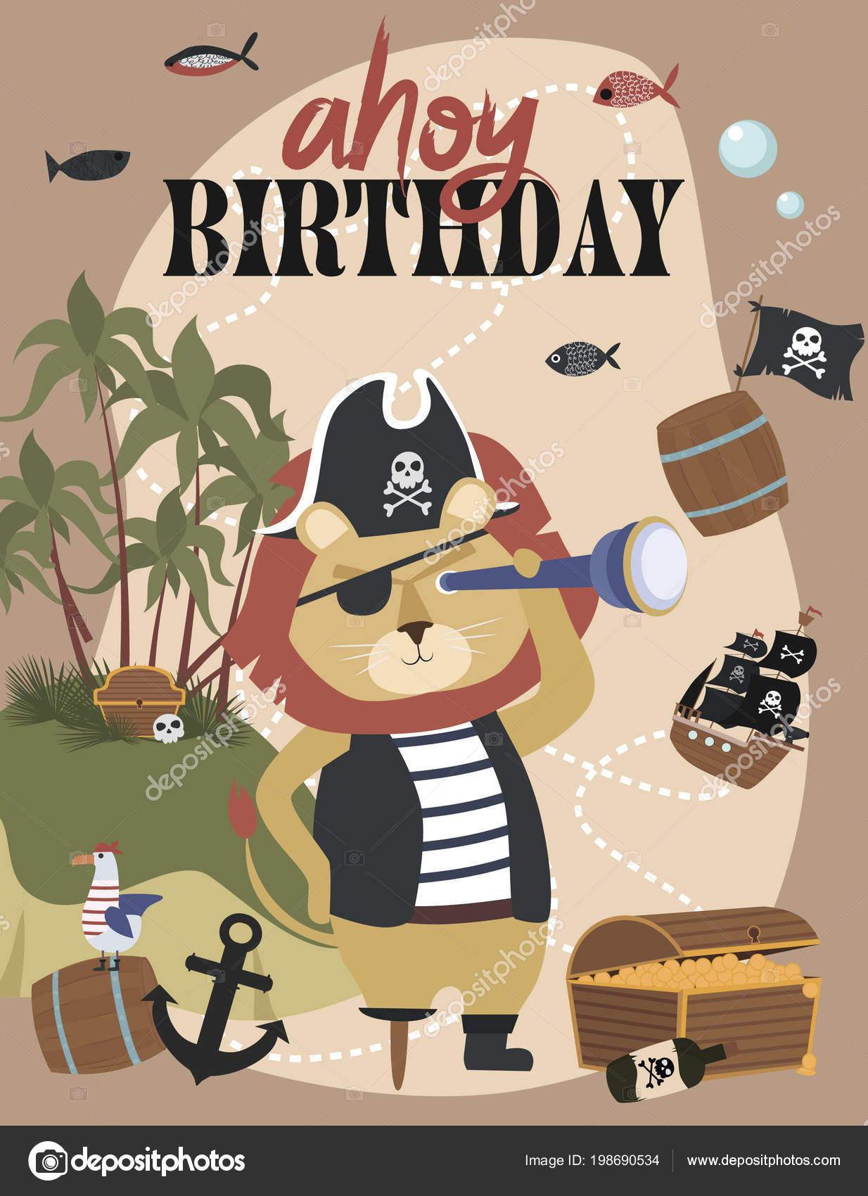 Carte Invitation Anniversaire Pirate Style Cartoon Illustration