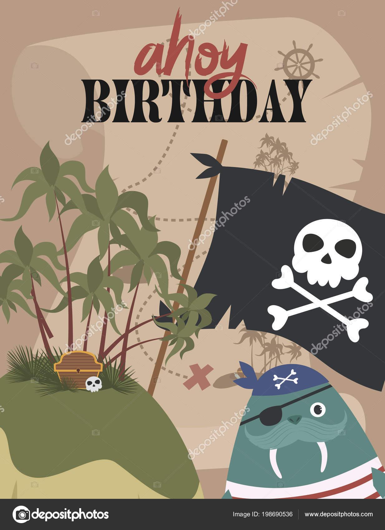 Tarjeta Invitación Cumpleaños Pirata Estilo Dibujos Animados
