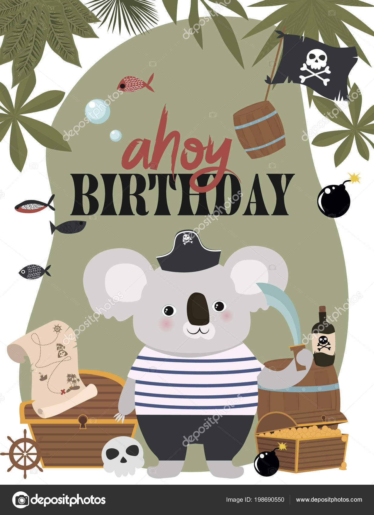 Pirate Birthday Invitation Card Cartoon Style Editable