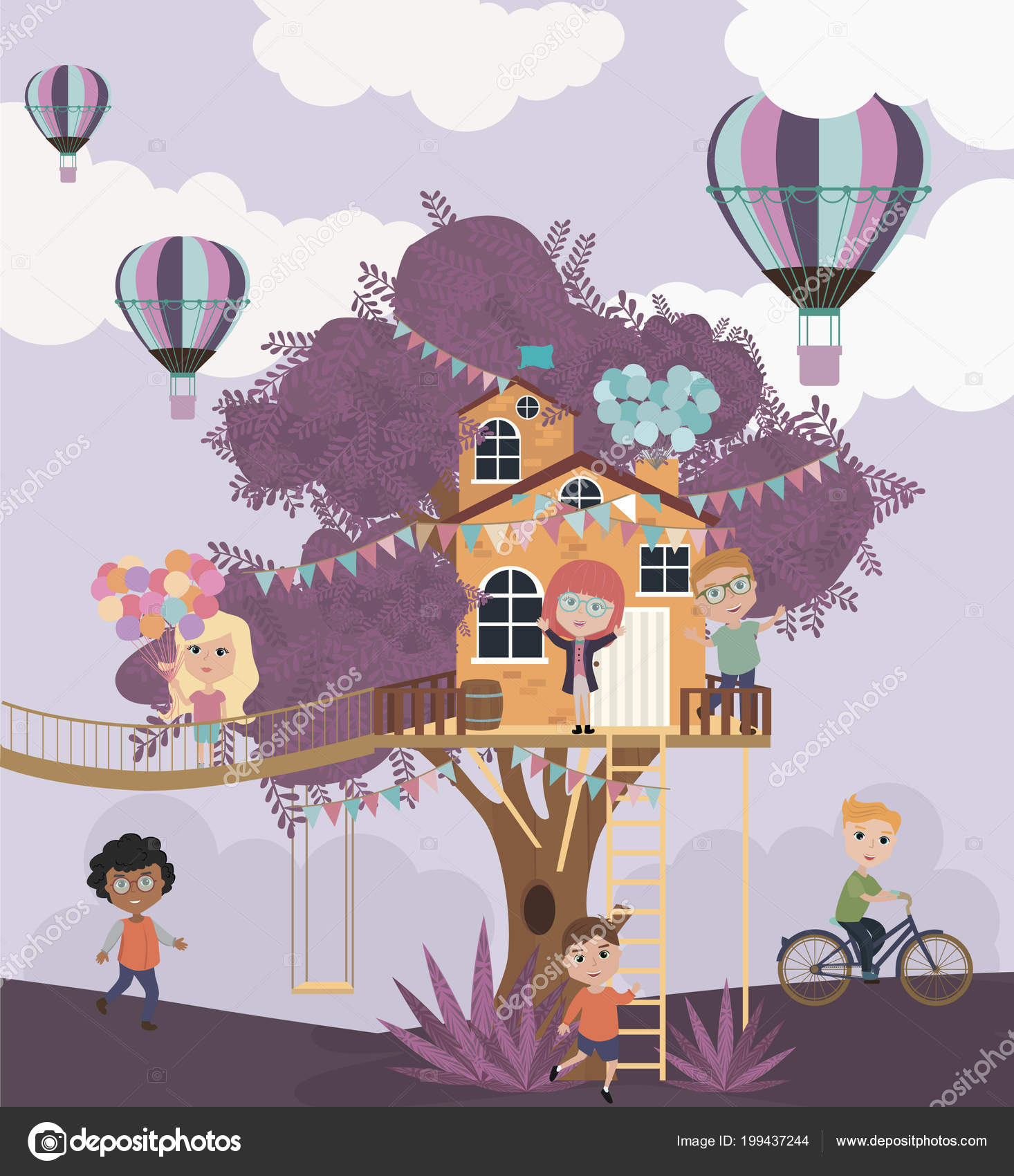 Illustration de dessin animé maison dans les arbres avec les enfants illustration vectorielle modifiable illustration de stock