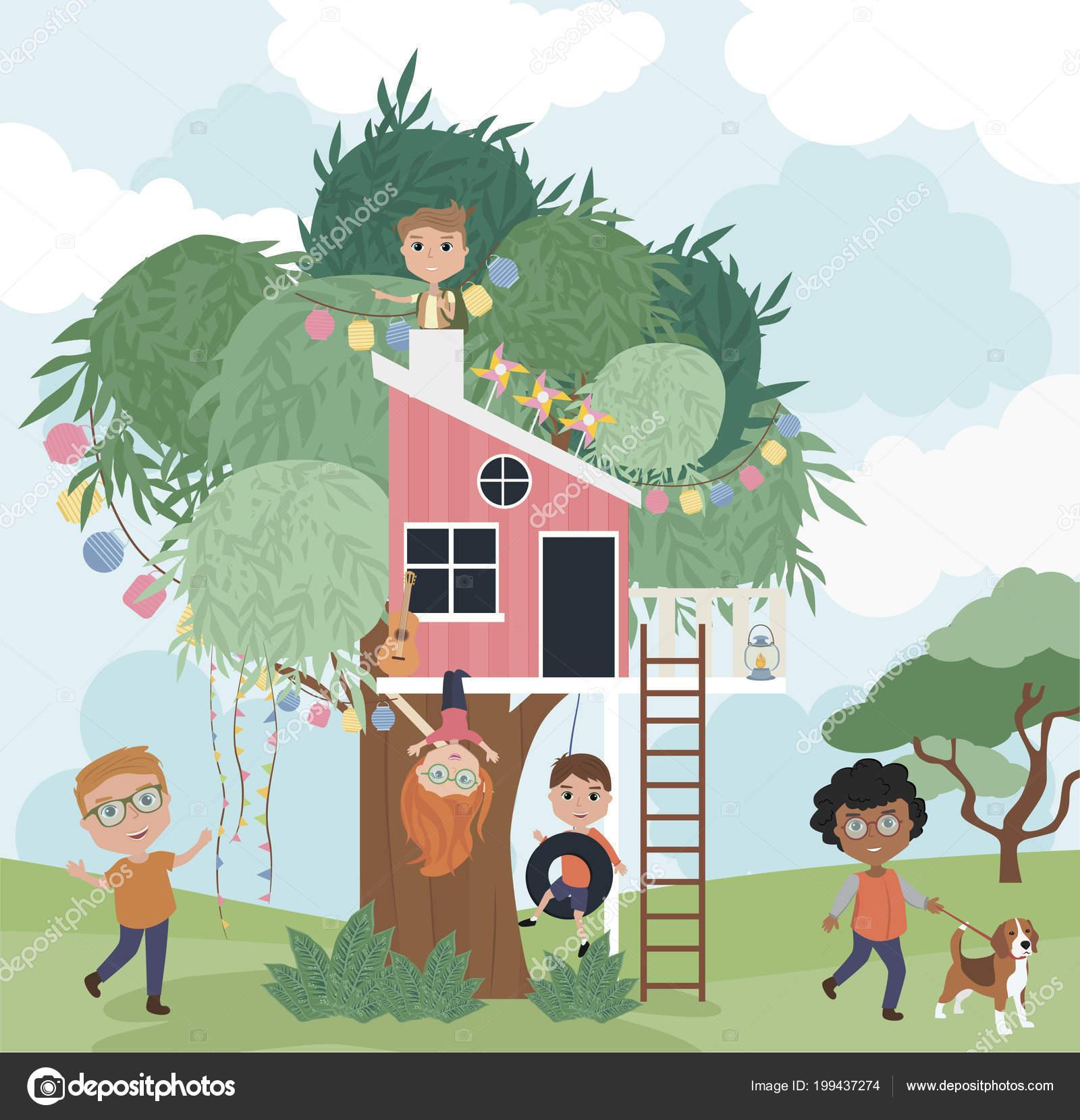 Illustration de dessin animé maison dans les arbres avec les enfants illustration vectorielle modifiable vecteur par