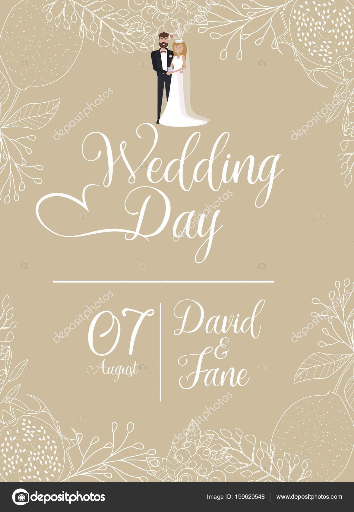 wedding day invitation card groom bride floral design editable