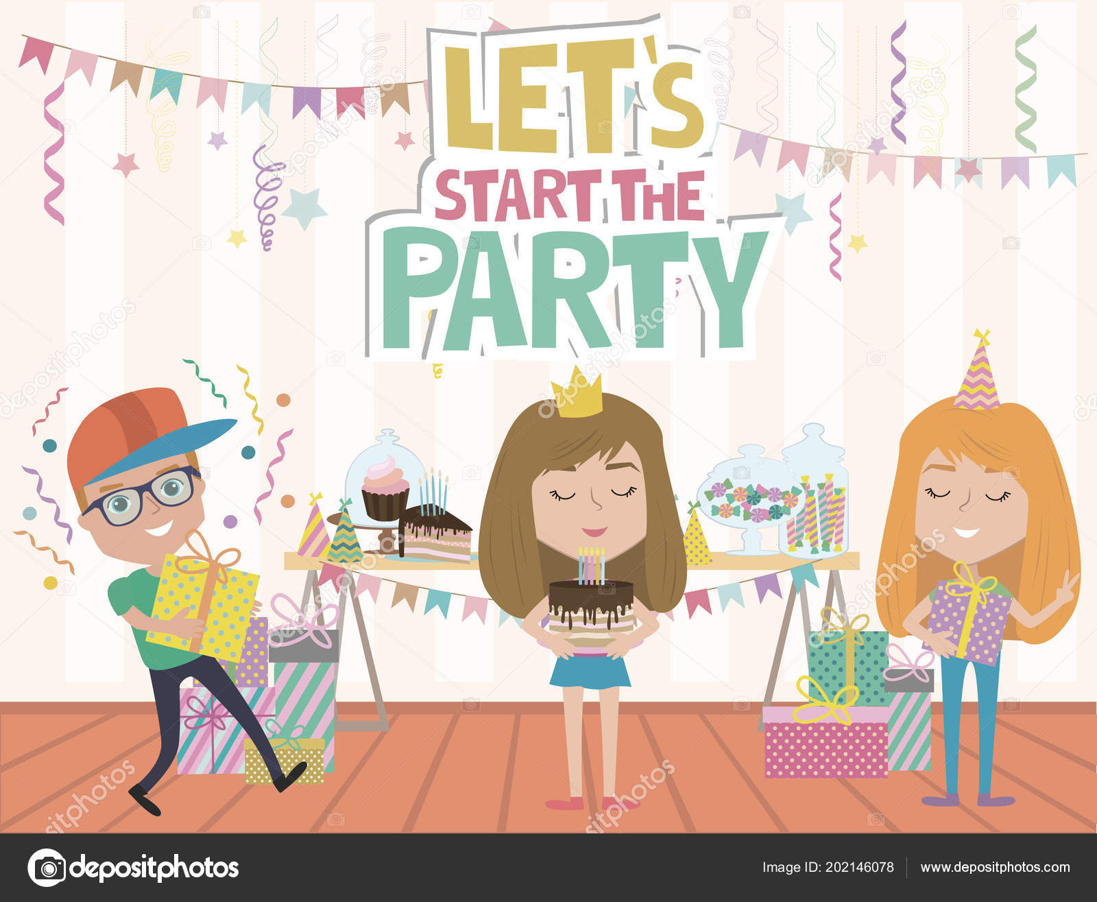 Kids Party Poster Fun Cartoon Characters Invitation Greeting