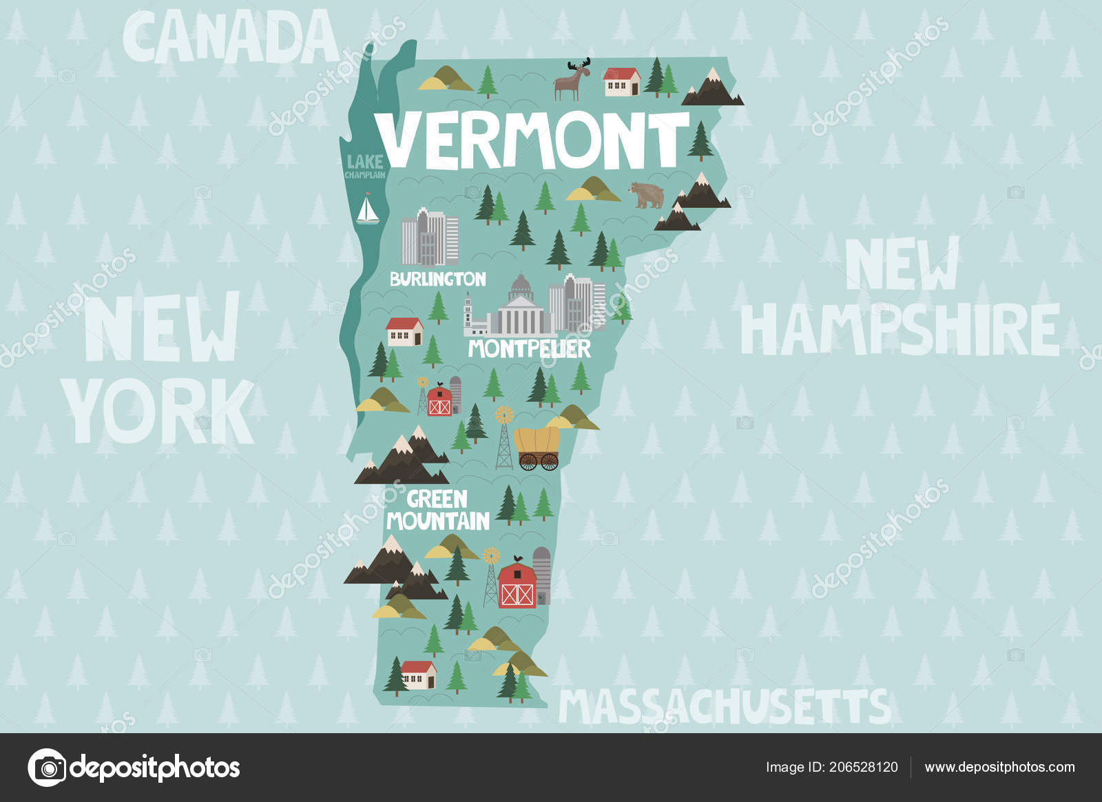 Illustrated Map State Vermont United States Cities Landmarks ...