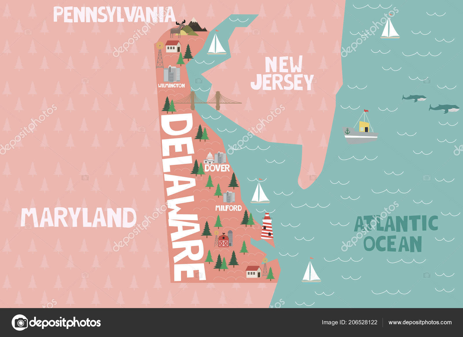 Illustrated Map State Delaware United States Cities ...
